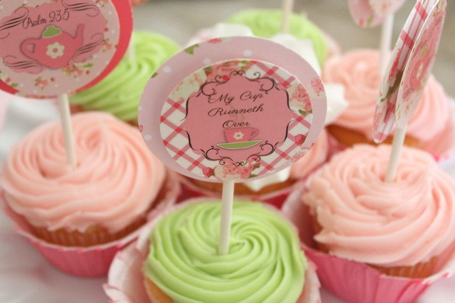 My Cup Runneth Over - A Tea Party On A Budget - cupcake toppers