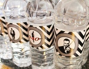 He's Aged to Perfection | James Bond Birthday Party - James Bond Water Bottle Labels