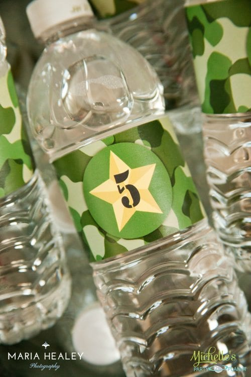 Army Party Water Bottle Labels