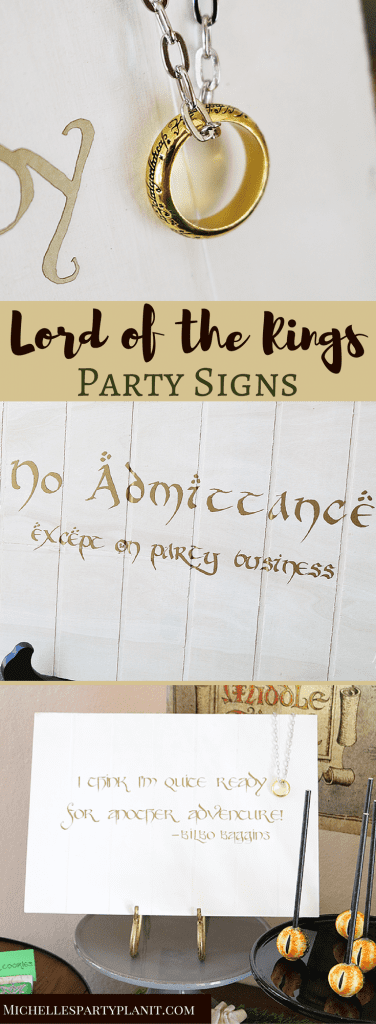 Lord of the Rings Party Signs