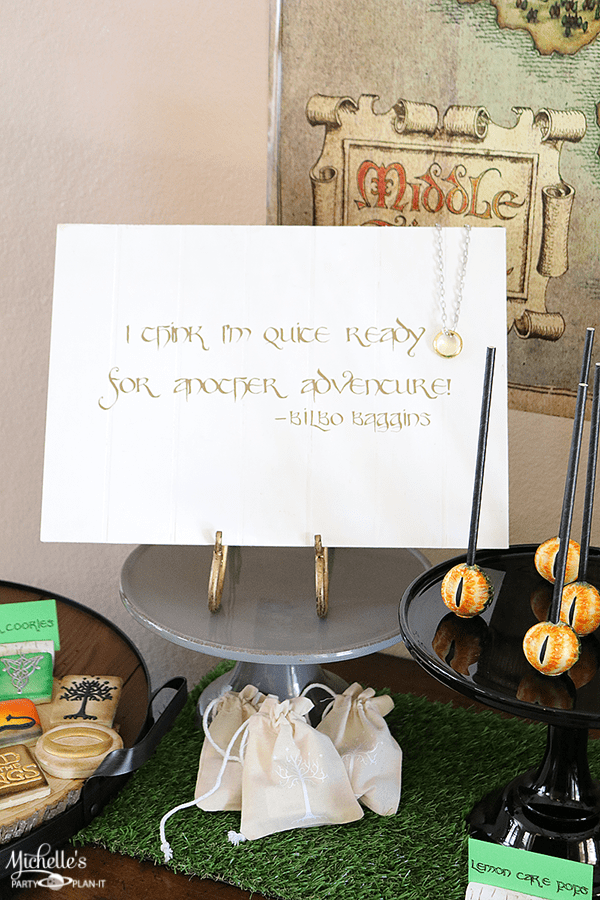 Lord of the Rings Party sign